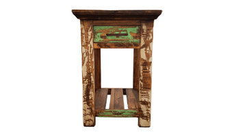 Multi Color Rustic End Table With 1 Drawer