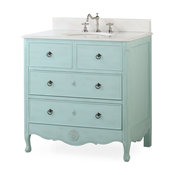 "34"" Dalleville Light Blue Bathroom Vanity, Without Mirror"