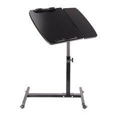 Contemporary Stylish Laptop Stand, Steel Frame, MDF Adjustable Tabletop, Black