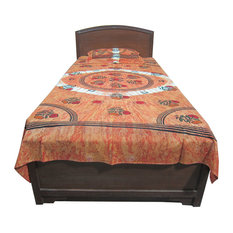 Mogul Interior - Indi Hippie Indian Bed Cover Tie Dye Tapestry Bedspread Beach Blanket One Pillow - Sheet And Pillowcase Sets