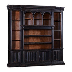 Entertainment Unit Center Cathedral Antiqued Blackwash Wood  Old