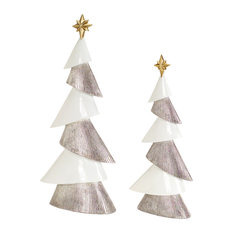 Melrose International LLC - Modern Tree, Set of 2 - Holiday Accents and Figurines