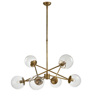 Turenne Large Dynamic Chandelier Hand-Rubbed Antique Brass