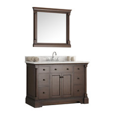 "Fresca Kingston 48"" Antique Coffee, Bathroom Vanity With Mirror"