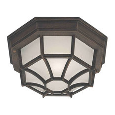 Forte 1-Light Fluorescent Cast Outdoor Flush Mount in Painted Rust