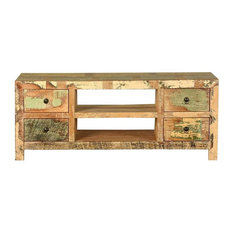 Sierra Reclaimed Wood Media Stand Console W Drawer