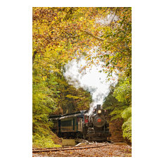 """Steam Train with Autumn Foliage"" Landscape Photo Unframed Wall Art Print, 16""x2"
