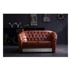 Industrial Aviation Whisky Faux Leather Sofa, Brown, 2-Seater