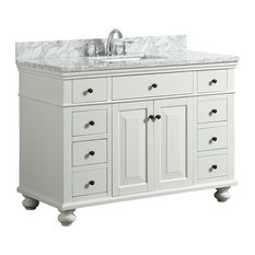 """Dustin White Bathroom Vanity With Marble Counter, 48"""""""