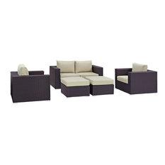 Convene 5-Piece Outdoor Wicker Rattan Sofa Set, Espresso Beige