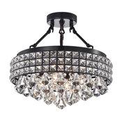 4-Light Black and Crystal Beaded Round Drum Semi Flush Mount Chandelier Glam