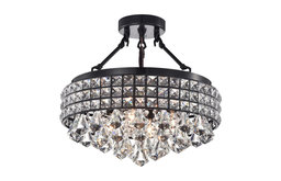 4-Light Black and Crystal Beaded Round Drum Semi Flush Mount Chandelier Glam