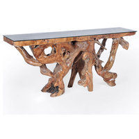 Teak Wood Root Console Table With Glass Top, 72""