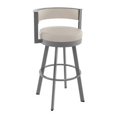Browser Swivel Metal Stool, Glossy Gray Metal/Beige Faux Leather, Counter Height