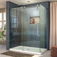 Enigma-Z 34.5x48 3/8x76 Sliding Shower Enclosure, Brushed Stainless Steel