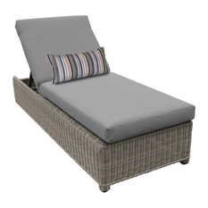 Coast Wheeled Chaise Outdoor Wicker Patio Furniture in Grey
