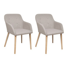 Fabric Dining Chair Set With Oak Legs, Beige, Set of 2