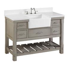 "Charlotte Bathroom Vanity, Weathered Gray, 48"", Quartz Top, Single Sink"