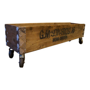 Upcycled Pallet Long Wheeled Box, 1 Layer