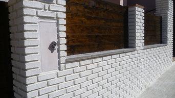 Rivestimento facciata esterna con mattoni Catalani Bianchi 5x20cm