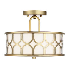 2-Light Semi-Flush Mount, Natural Brass