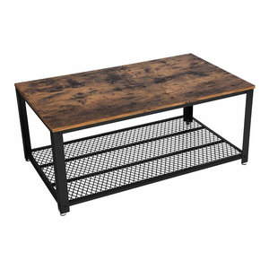 Industrial Coffee Table With Metal Frame and Particle Board Top