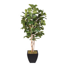 Artificial 7' Fiddle Leaf Tree, Black Metal Pot