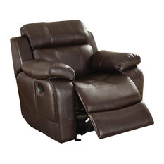 Lexicon Marille Traditional Faux Leather Glider Reclining Chair In Brown