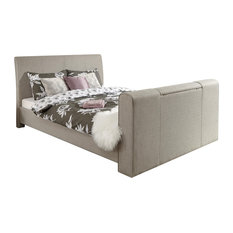 GFW - Brooklyn Pneumatic TV Bed, Light Grey, Double - Panel Beds