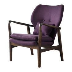 GDFStudio   Kana Accent Armchair, Plum/Espresso   Armchairs And Accent  Chairs