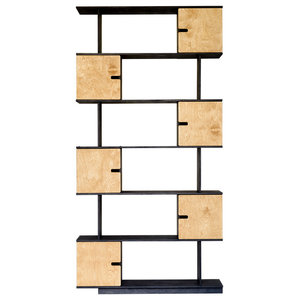 PIX Modular Shelving Unit, Dark Grey and Oak, 6 Cupboards