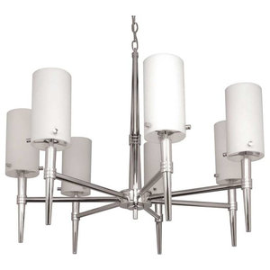 Nuvo 60//1066 5 Light Chandelier with White Opal Glass