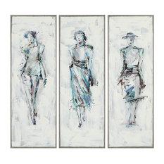 3-Piece Midcentury Modern Fashion Model Wall Art Panel Set, Painting Woman Frame