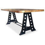 """Rustic Deco - A-Frame Counter Height Pub Gathering Table, 87"""" - This rustic, industrial A-frame dining/pub table is handcrafted from cast iron and solid reclaimed hardwood. Inspired by the machine age, this industrial table fits in perfect combination with any style. The solid hardwood top shows beautiful graining and is a stout 2.75 inches thick. The 33-inch height makes it a nice fit for counter height stools or chairs."""