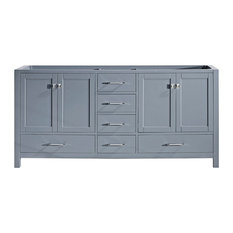 "Caroline Avenue 72"" Double Bathroom Vanity Cabinet in Gray"