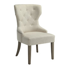 Coaster Florence Tufted Dining Side Chair, Beige and Rustic Smoke