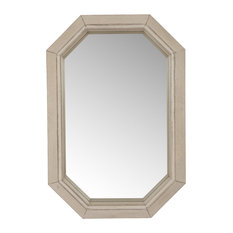 """34.25"""" Antique White Mirror With Octagon Wood"""