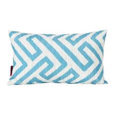 GDF Studio Manduka Outdoor Rectangular Pillow, Dark Teal/White Greek Key