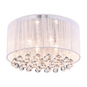 Belle 4-Light White Thread and Chrome Flushmount With Hanging Crystals
