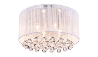 Belle 4-Light White Thread and Chrome Flush Mount With Hanging Crystals Glam
