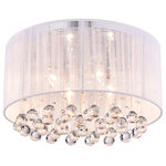 Edvivi Lighting - Belle 4-Light White Thread and Chrome Flush Mount With Hanging Crystals Glam - This opulent yet simple flushmount chandelier is a perfect addition to any room that needs a bit of drama. It features chrome hardware; a white tightly woven threaded drum shade, four lights, and a layer of cascading crystal beneath. The light filters a glow in the room that instantly adds mood.