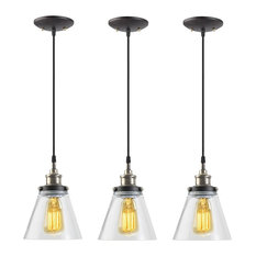 Globe Electric - 1-Light Vintage Edison Hanging Pendant, 3-Pack, 3x