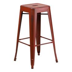 Flash Furniture Backless Distressed Metal Bar Stool Red Outdoor Bar