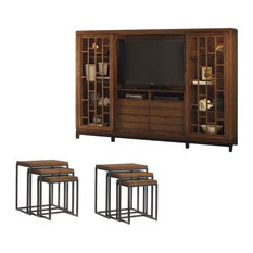 7 Piece Living Room Set with Entertainment Center and Set of 2 Nesting Tables