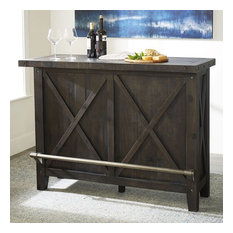 Crafters And Weavers Oak Park Cross Bar Table And Wine Cabinet - 55-inchW