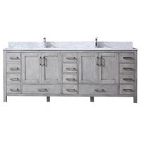 "Jacques 84"" Double Vanity, Carrera Marble Top, Square Sinks, Distressed Grey"