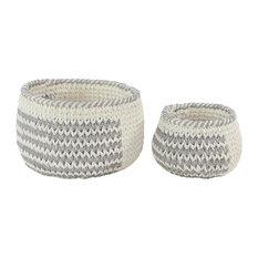 "Set of 2 Grey Polyester Country Storage Basket, 12"", 10"""