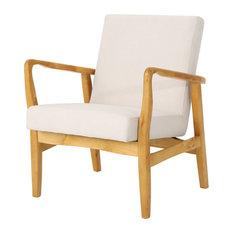 GDF Studio Isaac Mid Century Modern Fabric Club Chair, Ivory/Walnut