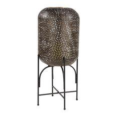 Modern Style Large Round Bronze Metal Floor Lantern With Pierced Metal Pattern