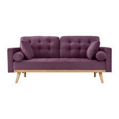 Sofamania   Modern Mid Century 2 Seater Tufted Velvet Sofa With Wooden  Legs, Purple
